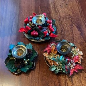 Three cute Candle holders with Christmas decor